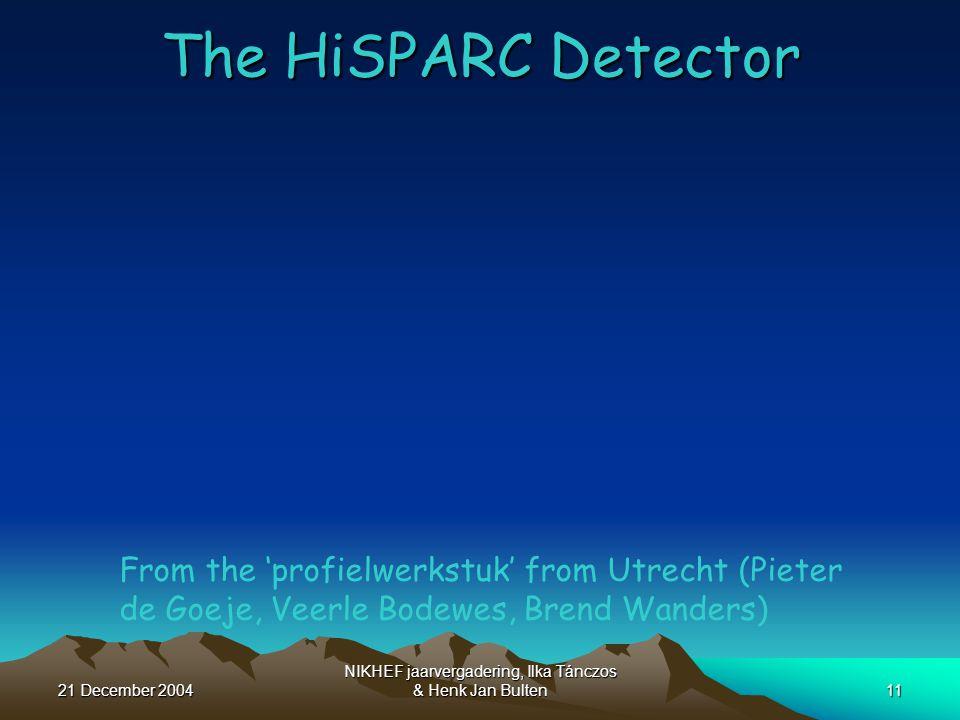 21 December 2004 NIKHEF jaarvergadering, Ilka Tánczos & Henk Jan Bulten11 The HiSPARC Detector From the 'profielwerkstuk' from Utrecht (Pieter de Goeje, Veerle Bodewes, Brend Wanders)