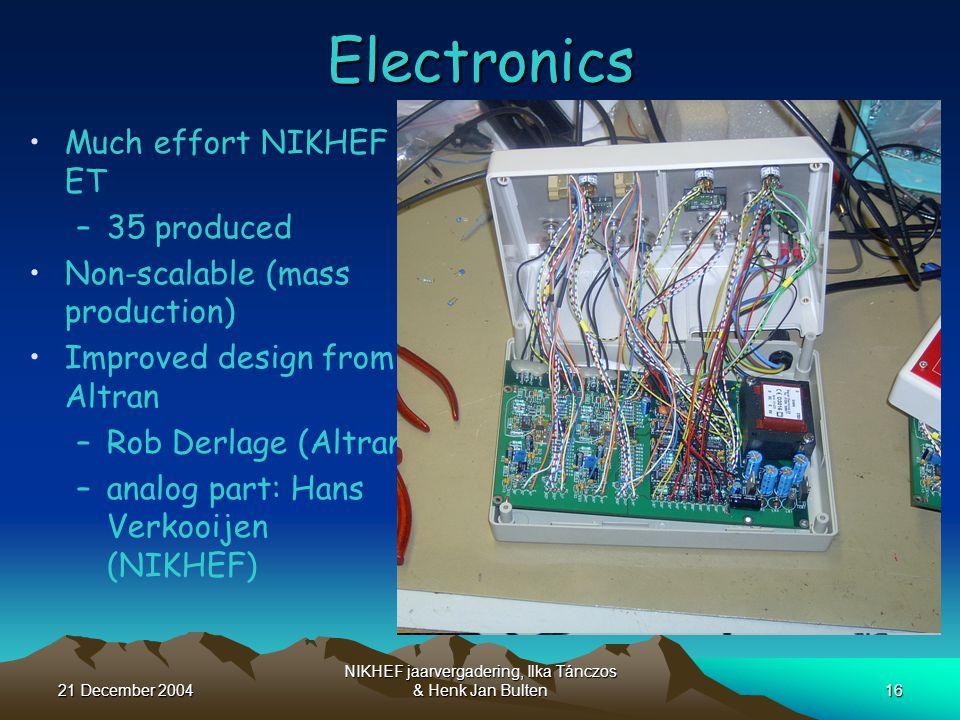 21 December 2004 NIKHEF jaarvergadering, Ilka Tánczos & Henk Jan Bulten16Electronics Much effort NIKHEF ET –35 produced Non-scalable (mass production) Improved design from Altran –Rob Derlage (Altran) –analog part: Hans Verkooijen (NIKHEF)