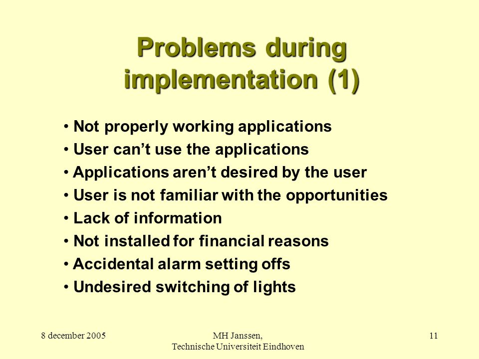 8 december 2005MH Janssen, Technische Universiteit Eindhoven 11 Problems during implementation (1) Not properly working applications User can't use the applications Applications aren't desired by the user User is not familiar with the opportunities Lack of information Not installed for financial reasons Accidental alarm setting offs Undesired switching of lights
