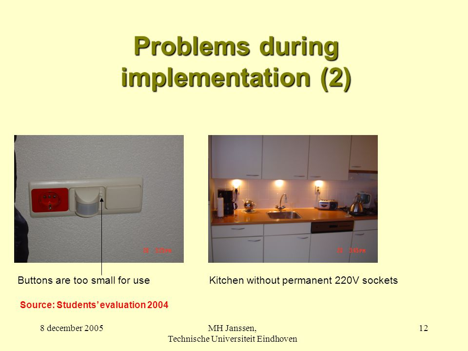 8 december 2005MH Janssen, Technische Universiteit Eindhoven 12 Problems during implementation (2) Kitchen without permanent 220V socketsButtons are too small for use Source: Students' evaluation 2004
