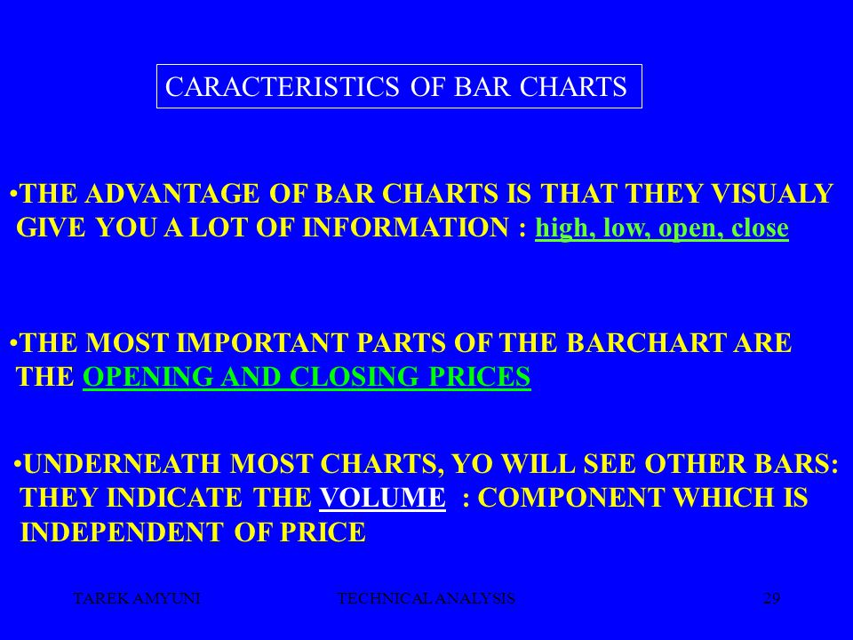TAREK AMYUNITECHNICAL ANALYSIS29 THE ADVANTAGE OF BAR CHARTS IS THAT THEY VISUALY GIVE YOU A LOT OF INFORMATION : high, low, open, close THE MOST IMPORTANT PARTS OF THE BARCHART ARE THE OPENING AND CLOSING PRICES CARACTERISTICS OF BAR CHARTS UNDERNEATH MOST CHARTS, YO WILL SEE OTHER BARS: THEY INDICATE THE VOLUME : COMPONENT WHICH IS INDEPENDENT OF PRICE