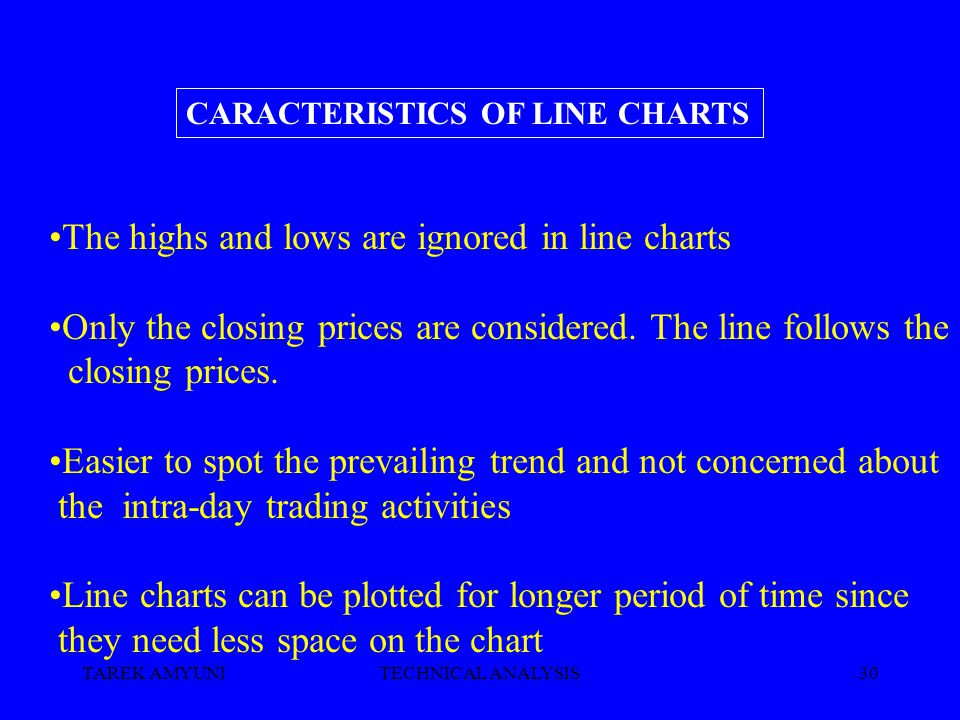 TAREK AMYUNITECHNICAL ANALYSIS30 The highs and lows are ignored in line charts Only the closing prices are considered. The line follows the closing pr