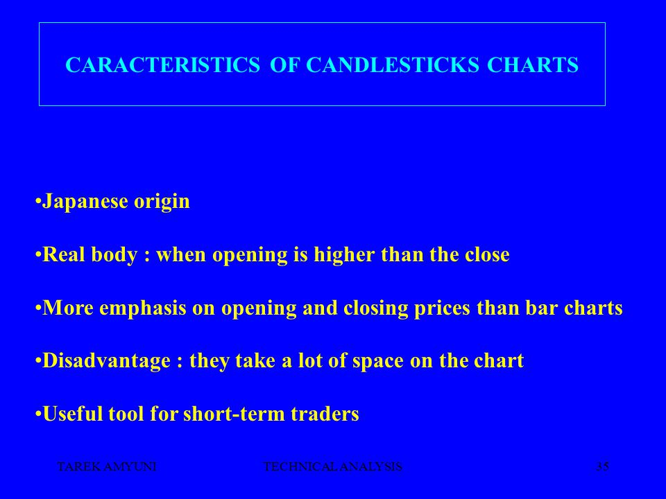 TAREK AMYUNITECHNICAL ANALYSIS35 CARACTERISTICS OF CANDLESTICKS CHARTS Japanese origin Real body : when opening is higher than the close More emphasis