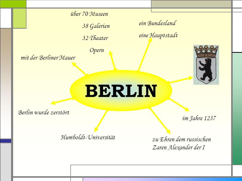 BERLIN ein Bundesland eine Hauptstadt im Jahre 1237 zu Ehren dem russischen Zaren Alexander der I Humboldt-Universität Berlin wurde zerstört mit der Berliner Mauer über 70 Museen 38 Galerien 32 Theater Opern