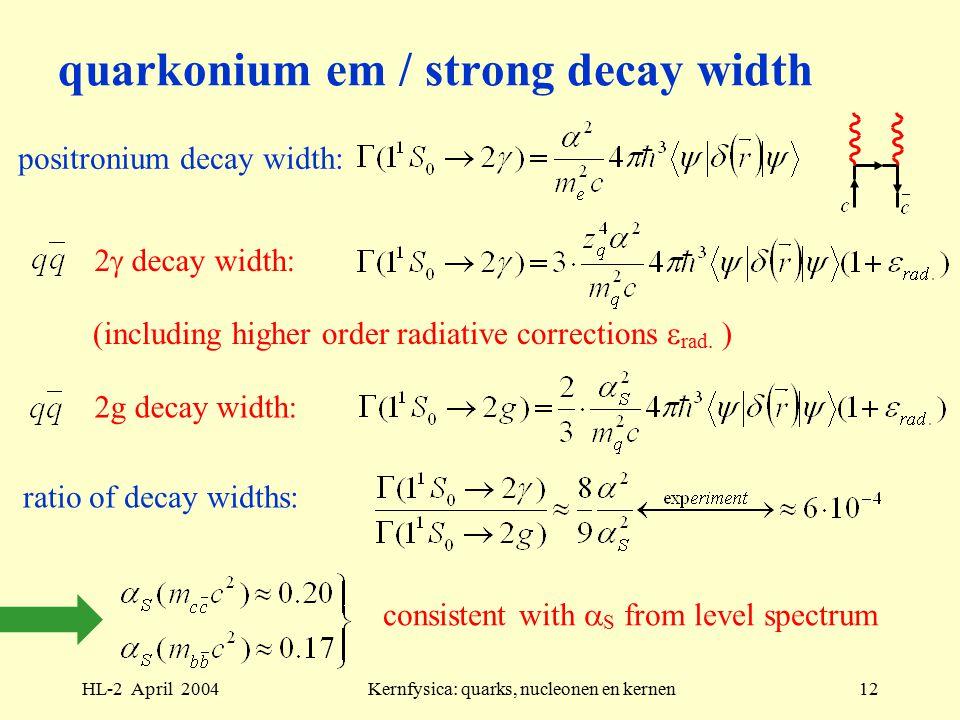 HL-2 April 2004Kernfysica: quarks, nucleonen en kernen12 quarkonium em / strong decay width positronium decay width: 2  decay width: (including higher order radiative corrections  rad.