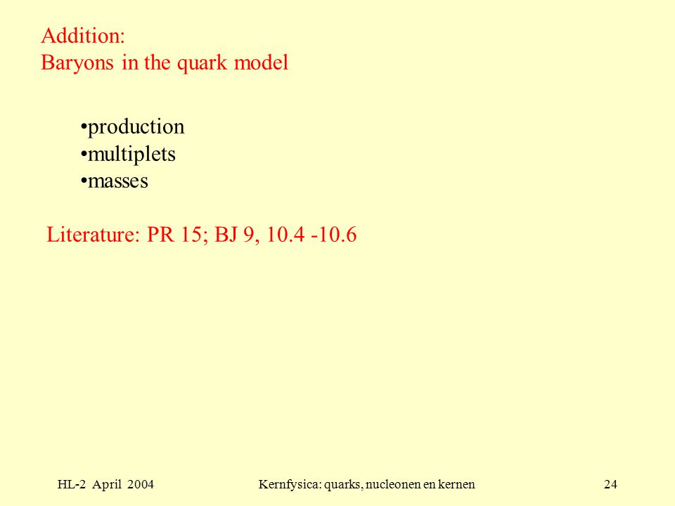 HL-2 April 2004Kernfysica: quarks, nucleonen en kernen24 Addition: Baryons in the quark model production multiplets masses Literature: PR 15; BJ 9, 10.4 -10.6