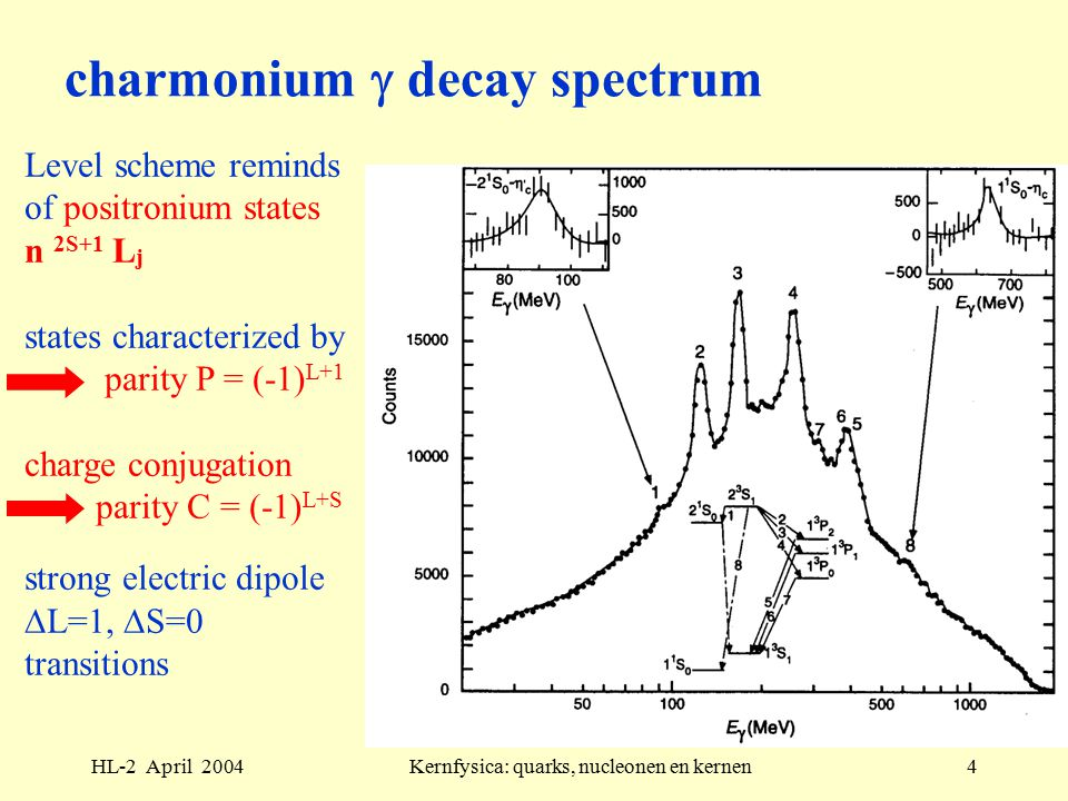HL-2 April 2004Kernfysica: quarks, nucleonen en kernen4 charmonium  decay spectrum Level scheme reminds of positronium states n 2S+1 L j states characterized by parity P = (-1) L+1 charge conjugation parity C = (-1) L+S strong electric dipole  L=1,  S=0 transitions