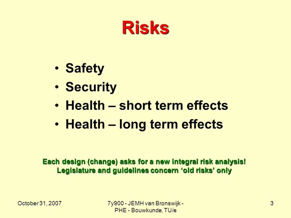 October 31, 20077y900 - JEMH van Bronswijk - PHE - Bouwkunde, TU/e 3 Risks Safety Security Health – short term effects Health – long term effects Each