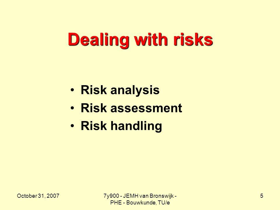 October 31, 20077y900 - JEMH van Bronswijk - PHE - Bouwkunde, TU/e 5 Dealing with risks Risk analysis Risk assessment Risk handling