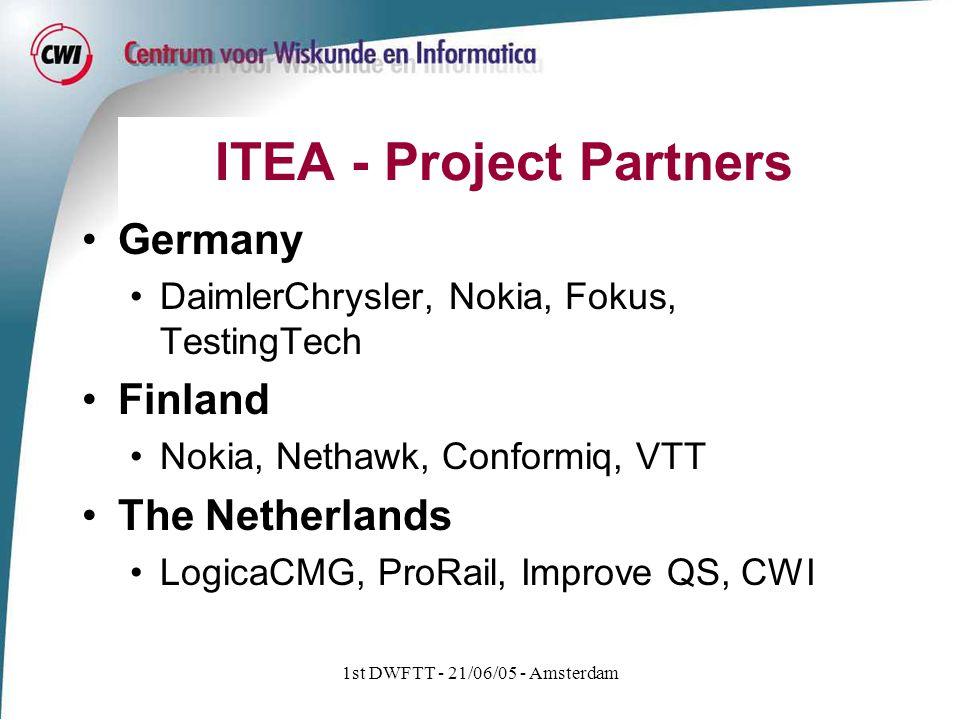 1st DWFTT - 21/06/05 - Amsterdam ITEA - Project Partners Germany DaimlerChrysler, Nokia, Fokus, TestingTech Finland Nokia, Nethawk, Conformiq, VTT The Netherlands LogicaCMG, ProRail, Improve QS, CWI