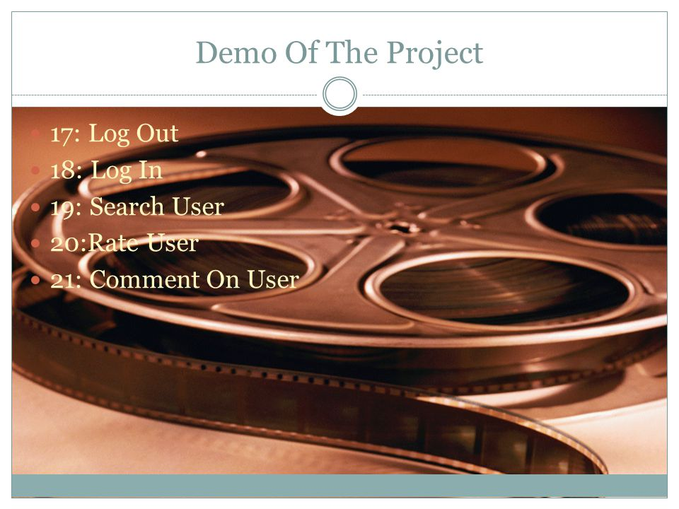 Demo Of The Project 17: Log Out 18: Log In 19: Search User 20:Rate User 21: Comment On User