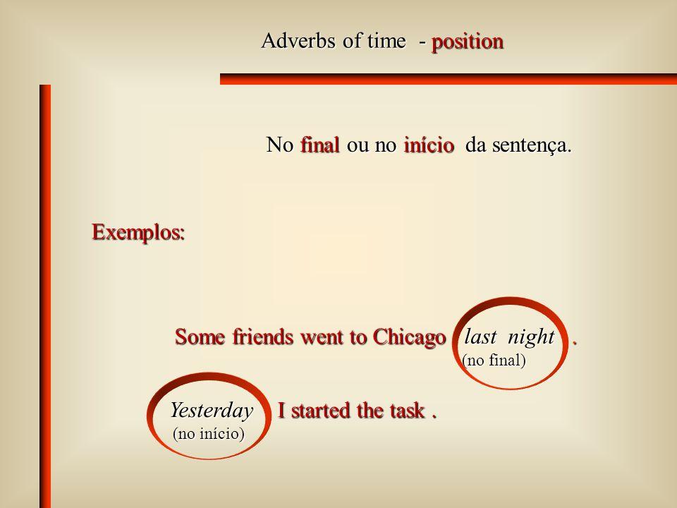 Adverbs of place - position Após o verbo ou após o complemento ou objeto.