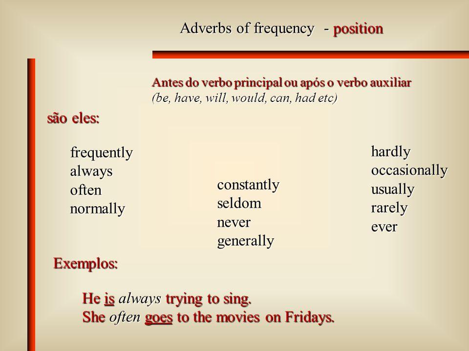 Adverbs of time - position No final ou no início da sentença.