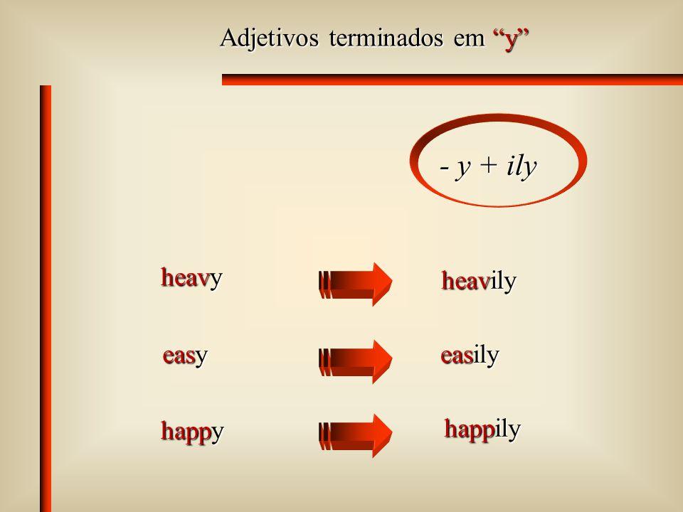 Adjetivos terminados em y - y + ily heavy heavily easy easily happy happily