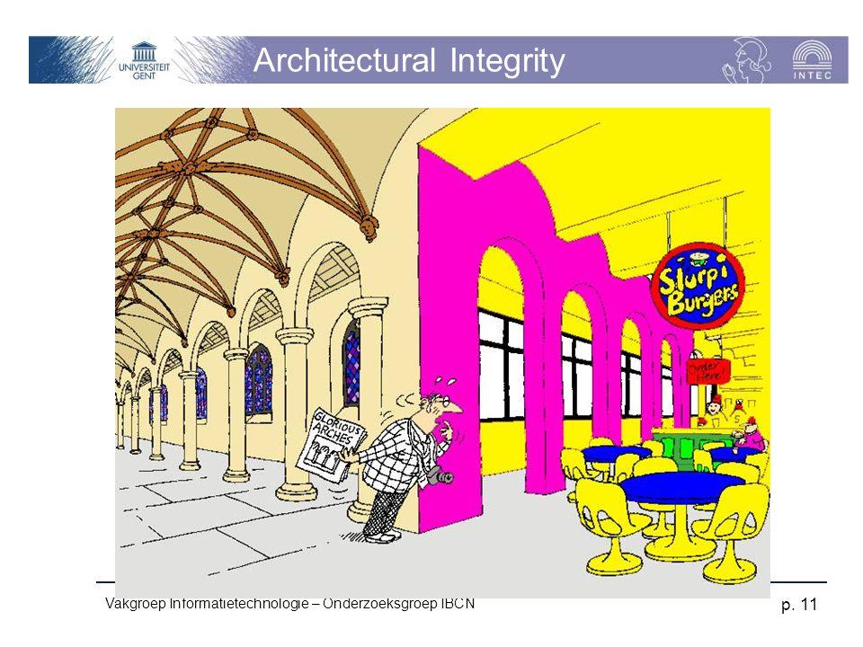 Vakgroep Informatietechnologie – Onderzoeksgroep IBCN p. 11 Architectural Integrity