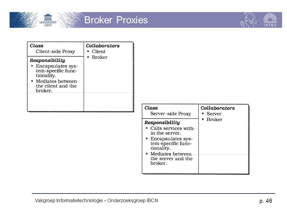 Vakgroep Informatietechnologie – Onderzoeksgroep IBCN p. 46 Broker Proxies