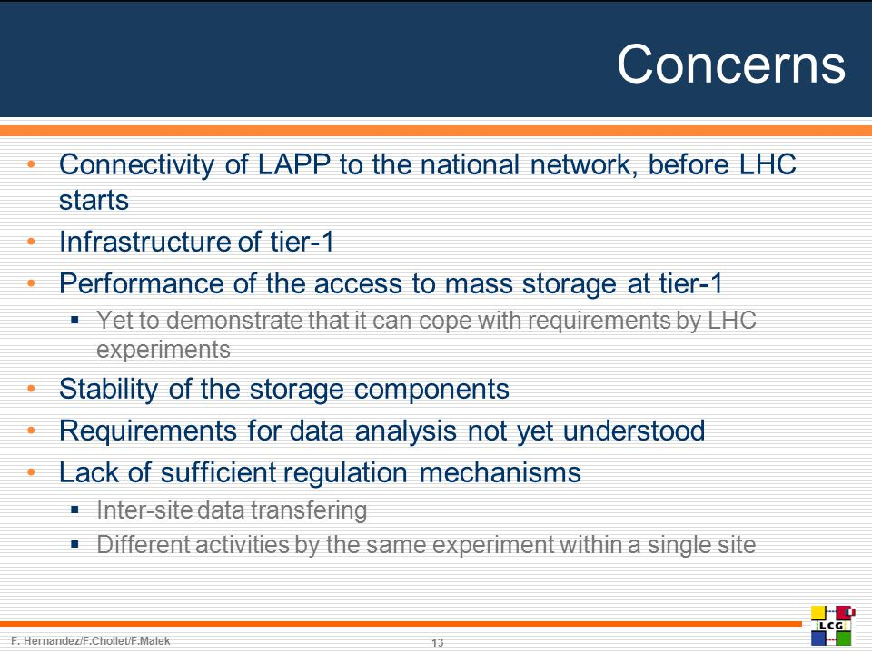 Concerns Connectivity of LAPP to the national network, before LHC starts Infrastructure of tier-1 Performance of the access to mass storage at tier-1  Yet to demonstrate that it can cope with requirements by LHC experiments Stability of the storage components Requirements for data analysis not yet understood Lack of sufficient regulation mechanisms  Inter-site data transfering  Different activities by the same experiment within a single site F.