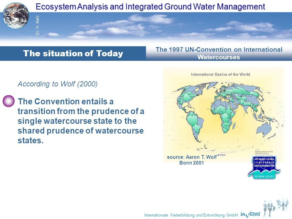 Ecosystem Analysis and Integrated Ground Water Management Dr. H. Kehl Internationale Weiterbildung und Entwicklung GmbH According to Wolf (2000) These