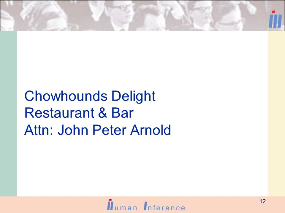 12 Chowhounds Delight Restaurant & Bar Attn: John Peter Arnold