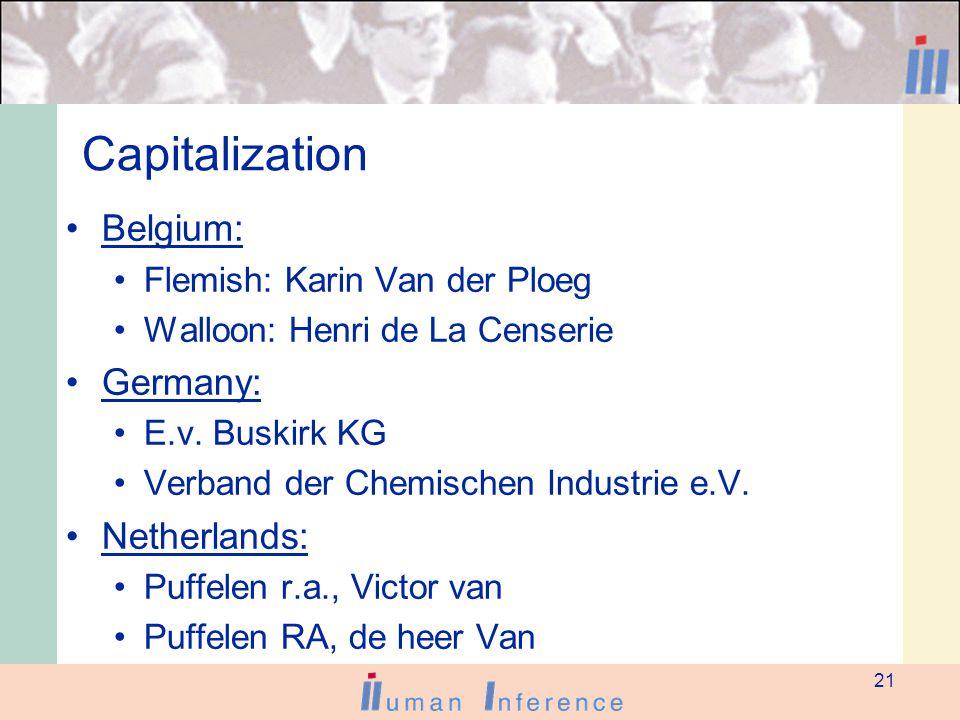 21 Capitalization Belgium: Flemish: Karin Van der Ploeg Walloon: Henri de La Censerie Germany: E.v.