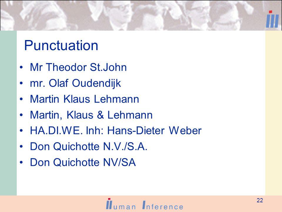 22 Punctuation Mr Theodor St.John mr.