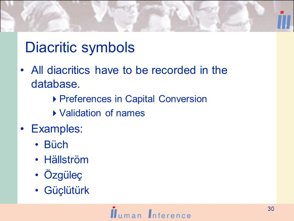 30 Diacritic symbols All diacritics have to be recorded in the database.