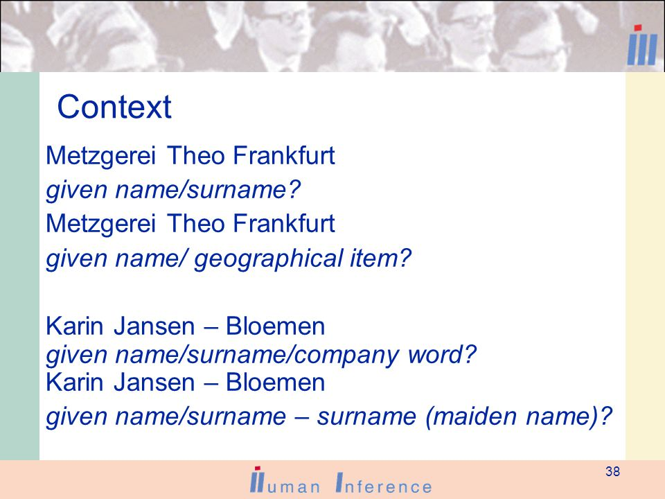 38 Context Metzgerei Theo Frankfurt given name/surname.
