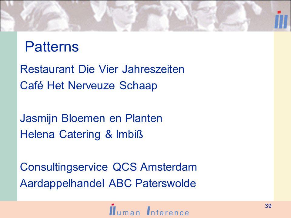 39 Patterns Restaurant Die Vier Jahreszeiten Café Het Nerveuze Schaap Jasmijn Bloemen en Planten Helena Catering & Imbiß Consultingservice QCS Amsterdam Aardappelhandel ABC Paterswolde