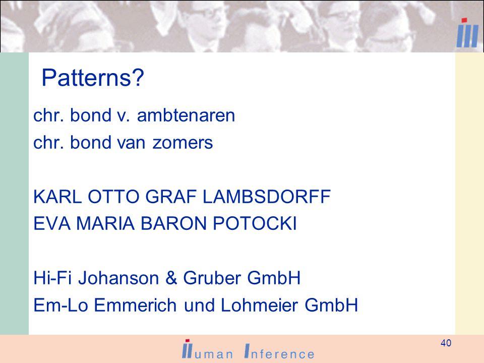 40 Patterns. chr. bond v. ambtenaren chr.
