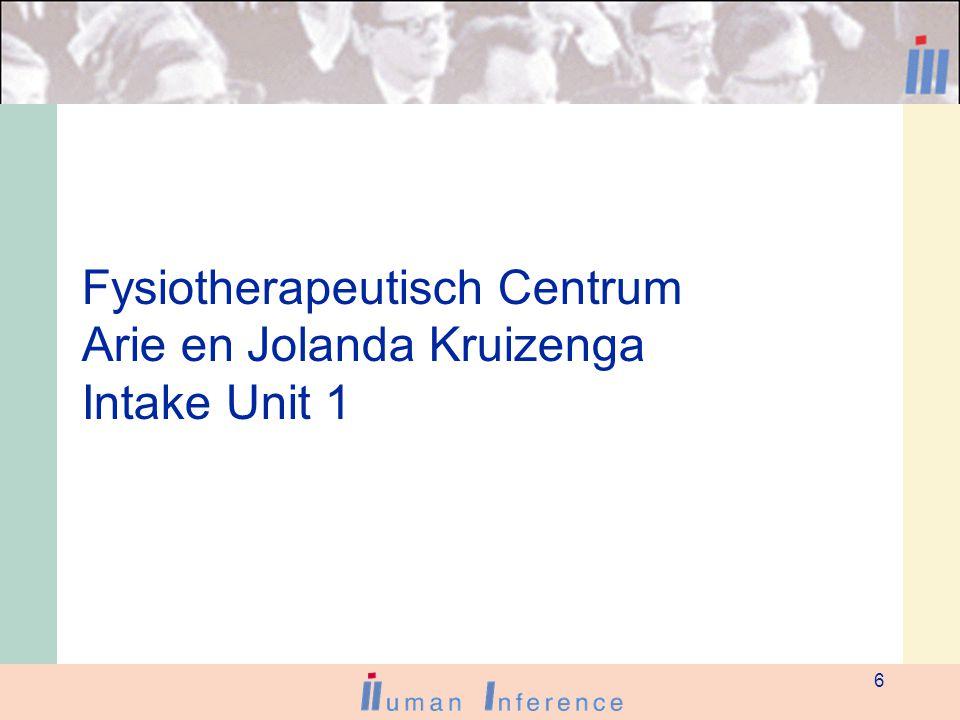 6 Fysiotherapeutisch Centrum Arie en Jolanda Kruizenga Intake Unit 1