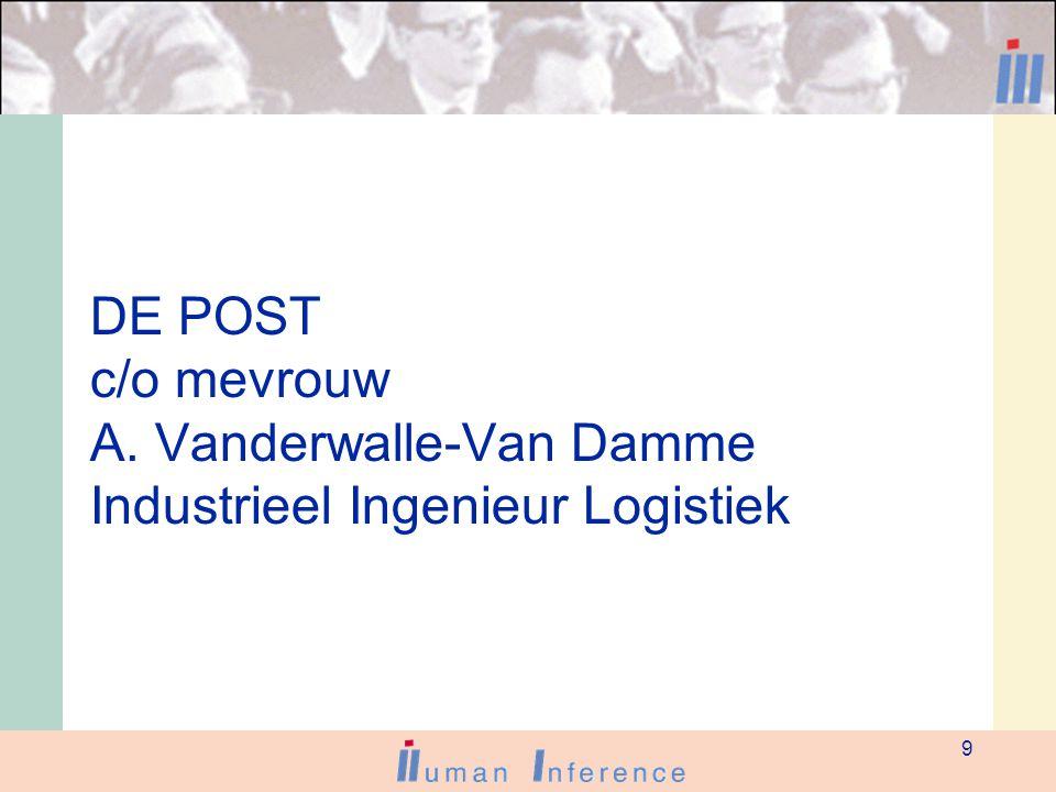 9 DE POST c/o mevrouw A. Vanderwalle-Van Damme Industrieel Ingenieur Logistiek