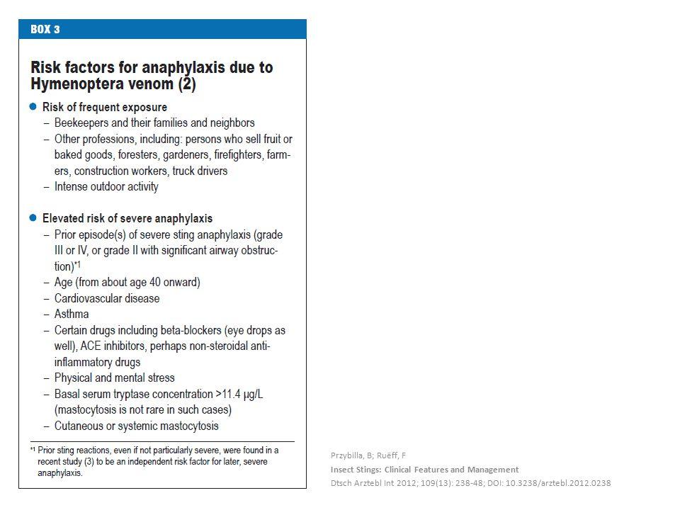 Przybilla, B; Ruëff, F Insect Stings: Clinical Features and Management Dtsch Arztebl Int 2012; 109(13): 238-48; DOI: 10.3238/arztebl.2012.0238