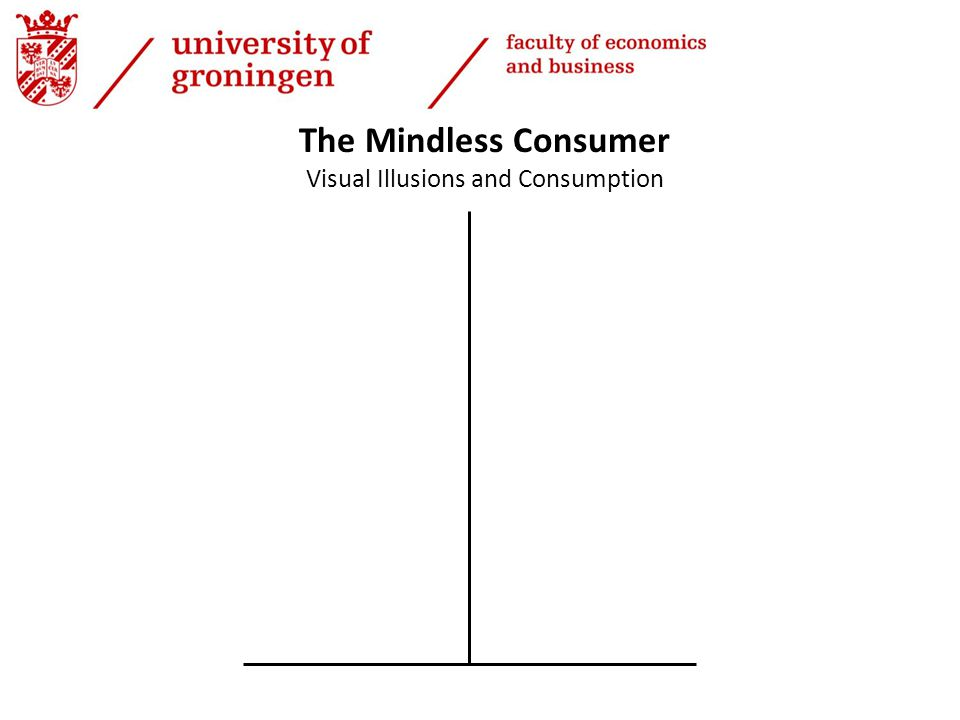 The Mindless Consumer Visual Illusions and Consumption N=43 Age=40.7, 51.0% F 4 Chinese Buffets Serving: F(1, 35) = 32.7, p <.01 Waste: F(1, 35) = 9.0, p <.01, Wansink and Van Ittersum (2013)