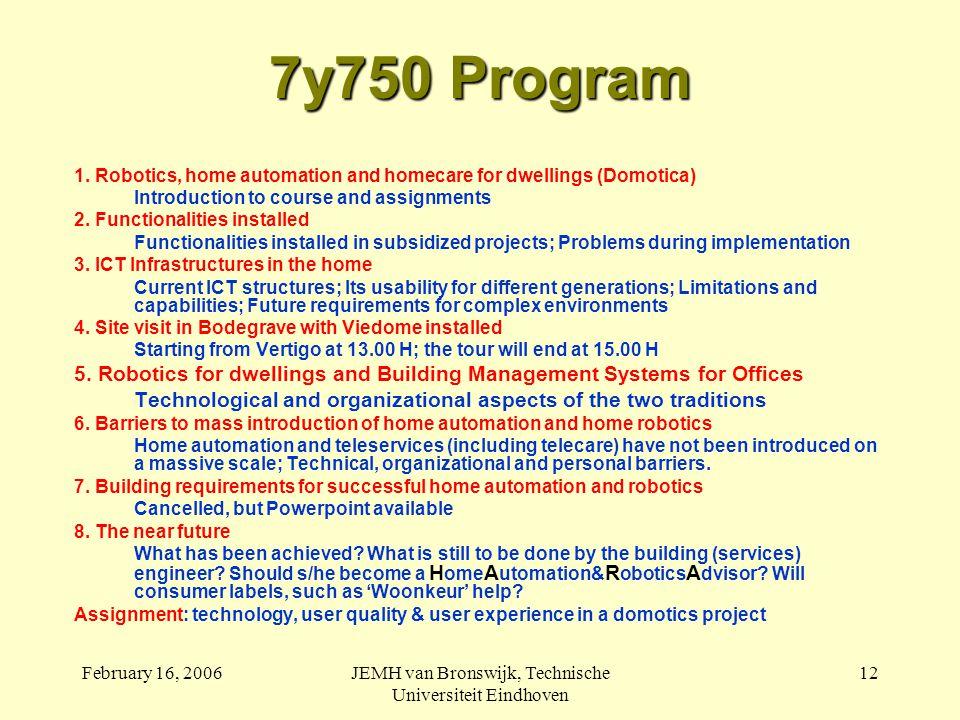 February 16, 2006JEMH van Bronswijk, Technische Universiteit Eindhoven 12 7y750 Program 1.