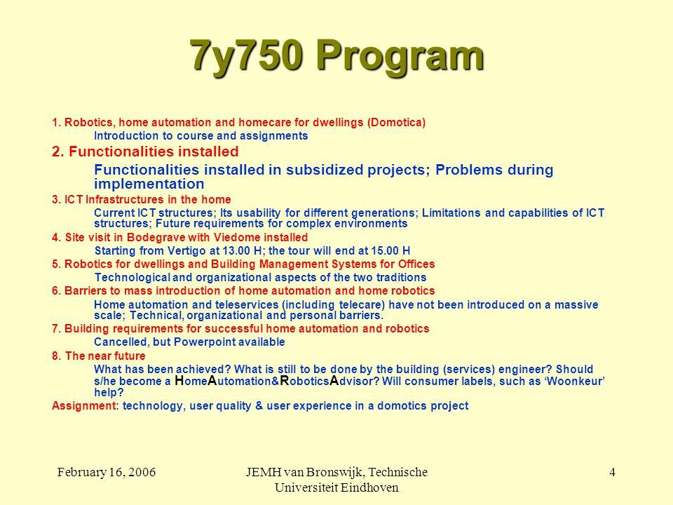 February 16, 2006JEMH van Bronswijk, Technische Universiteit Eindhoven 4 7y750 Program 1.