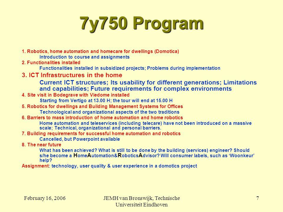 February 16, 2006JEMH van Bronswijk, Technische Universiteit Eindhoven 7 7y750 Program 1.