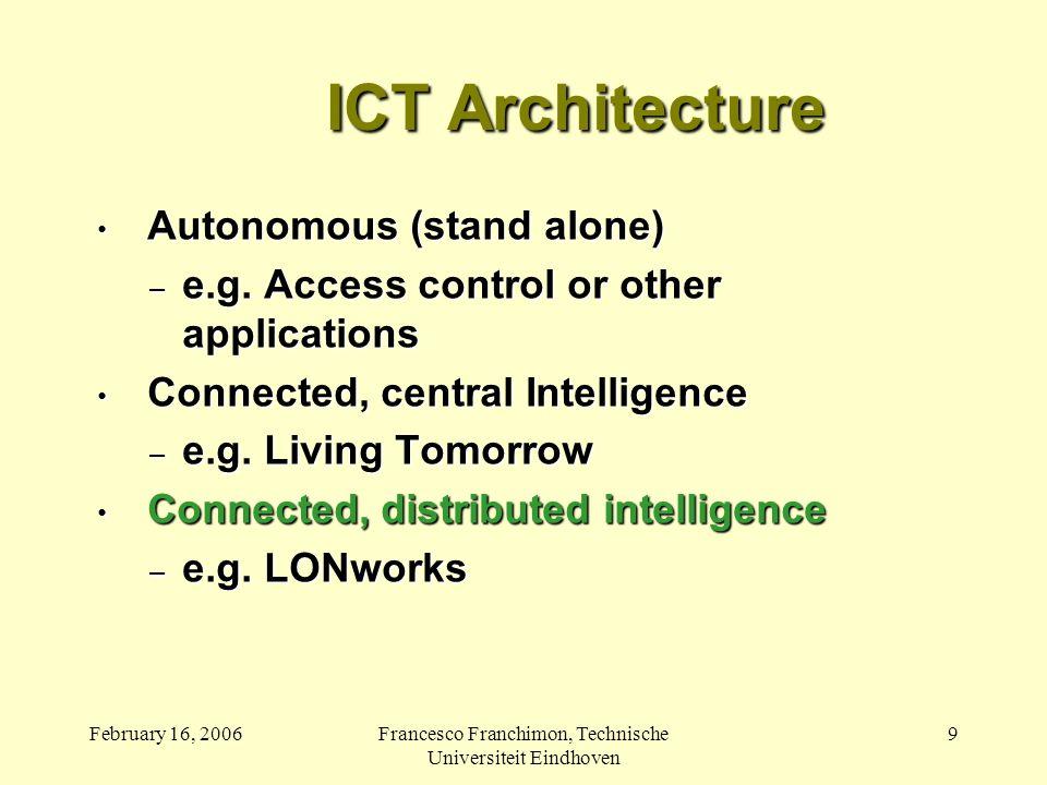 February 16, 2006Francesco Franchimon, Technische Universiteit Eindhoven 9 ICT Architecture Autonomous (stand alone) Autonomous (stand alone) – e.g.