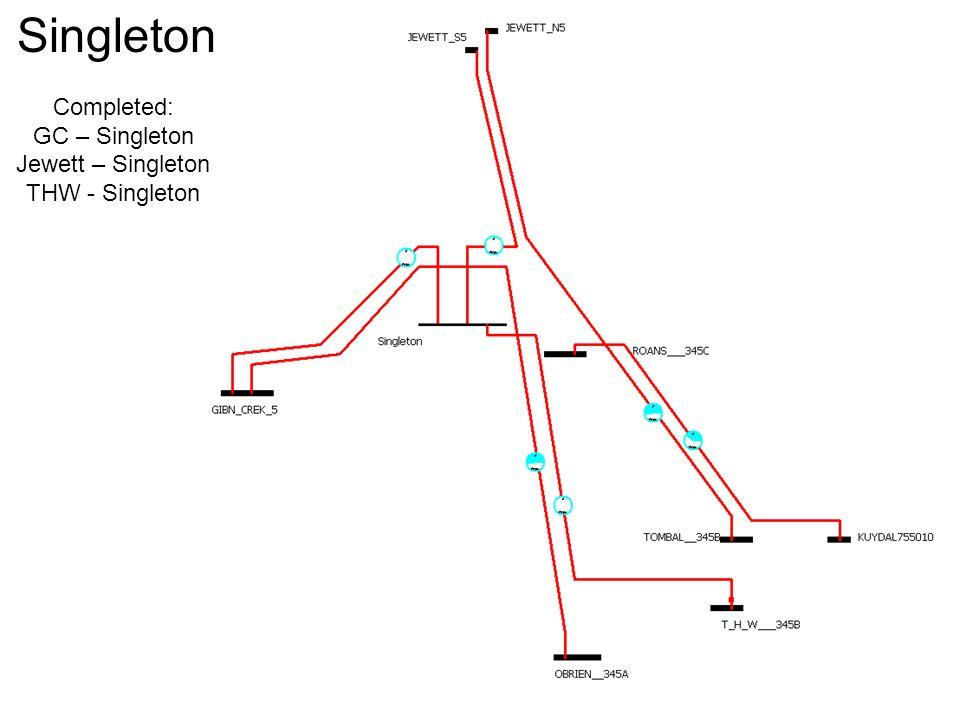 Singleton Completed: GC – Singleton Jewett – Singleton THW - Singleton