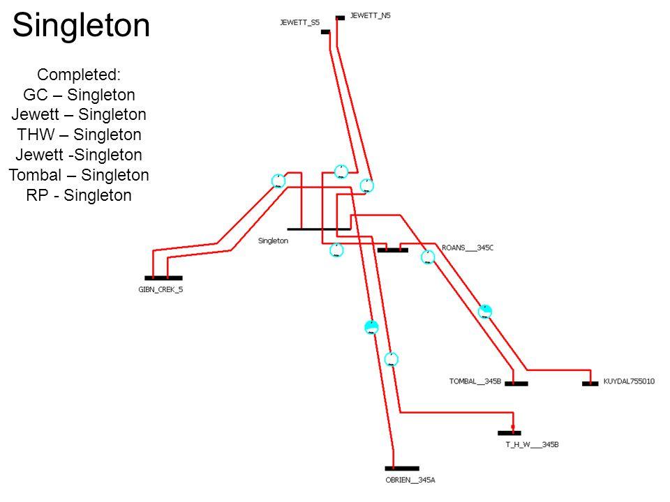 Singleton Completed: GC – Singleton Jewett – Singleton THW – Singleton Jewett -Singleton Tombal – Singleton RP - Singleton
