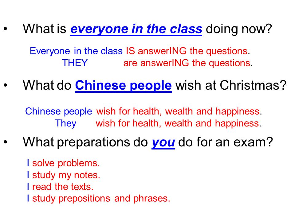 What is everyone in the class doing now. What do Chinese people wish at Christmas.