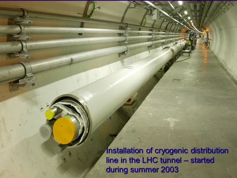 Rüdiger Schmidt - Wuppertal Januar Installation of cryogenic distribution line in the LHC tunnel – started during summer 2003