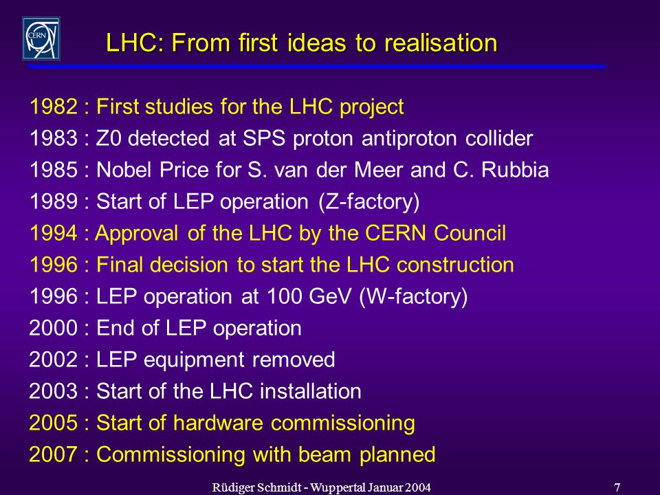 Rüdiger Schmidt - Wuppertal Januar LHC: From first ideas to realisation 1982 : First studies for the LHC project 1983 : Z0 detected at SPS proton antiproton collider 1985 : Nobel Price for S.