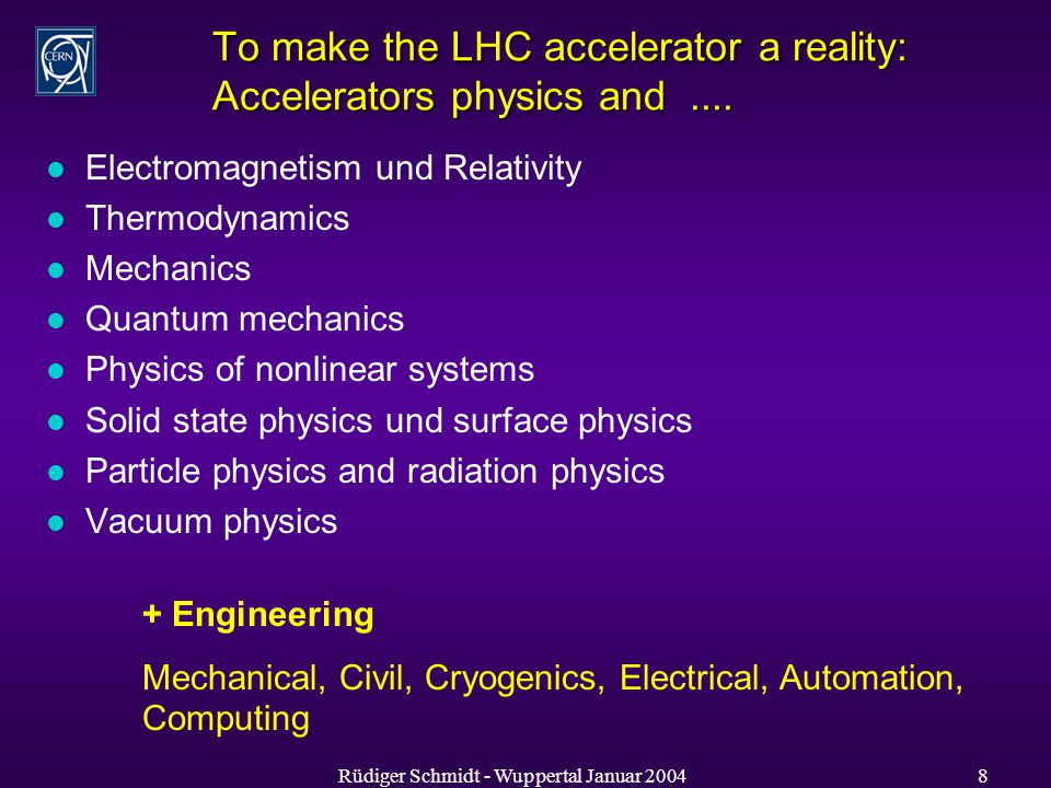 Rüdiger Schmidt - Wuppertal Januar To make the LHC accelerator a reality: Accelerators physics and....