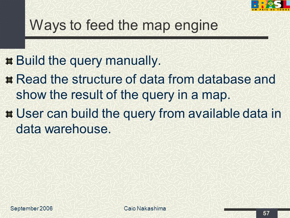 September 2006Caio Nakashima 57 Ways to feed the map engine Build the query manually.