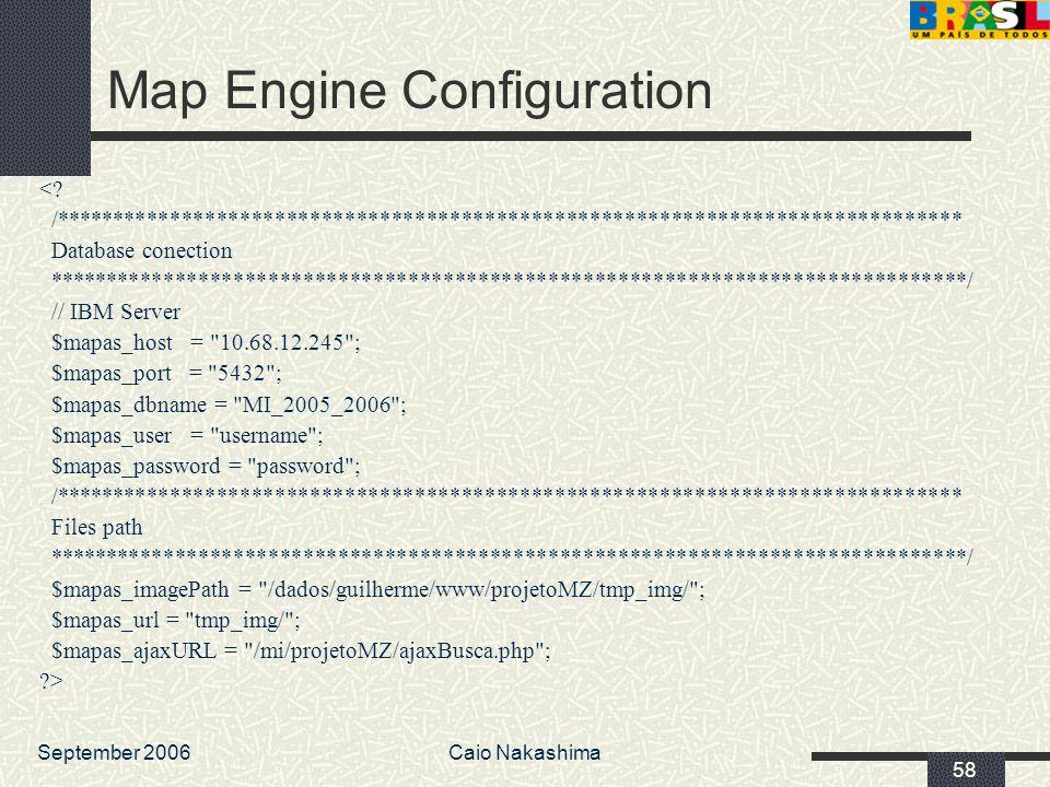 September 2006Caio Nakashima 58 Map Engine Configuration <? /****************************************************************************** Database c