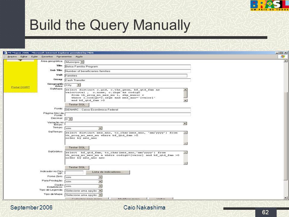 September 2006Caio Nakashima 62 Build the Query Manually