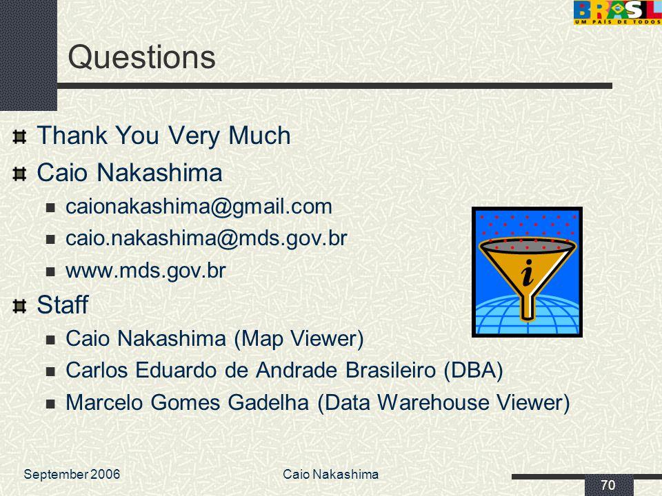 September 2006Caio Nakashima 70 Questions Thank You Very Much Caio Nakashima caionakashima@gmail.com caio.nakashima@mds.gov.br www.mds.gov.br Staff Ca