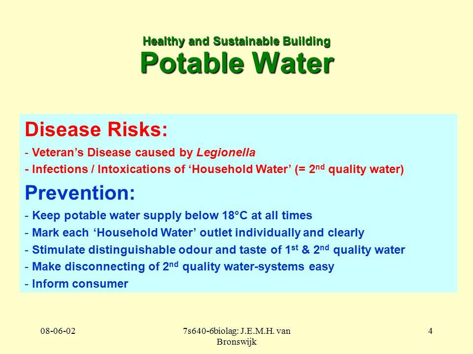 08-06-027s640-6biolag: J.E.M.H. van Bronswijk 4 Healthy and Sustainable Building Potable Water Disease Risks: - Veteran's Disease caused by Legionella