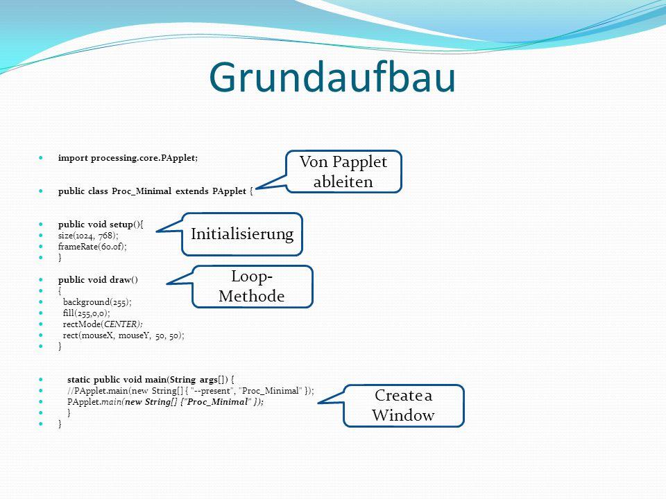 Grundaufbau import processing.core.PApplet; public class Proc_Minimal extends PApplet { public void setup(){ size(1024, 768); frameRate(60.0f); } public void draw() { background(255); fill(255,0,0); rectMode(CENTER); rect(mouseX, mouseY, 50, 50); } static public void main(String args[]) { //PApplet.main(new String[] { --present , Proc_Minimal }); PApplet.main(new String[] { Proc_Minimal }); } Von Papplet ableiten Initialisierung Loop- Methode Create a Window