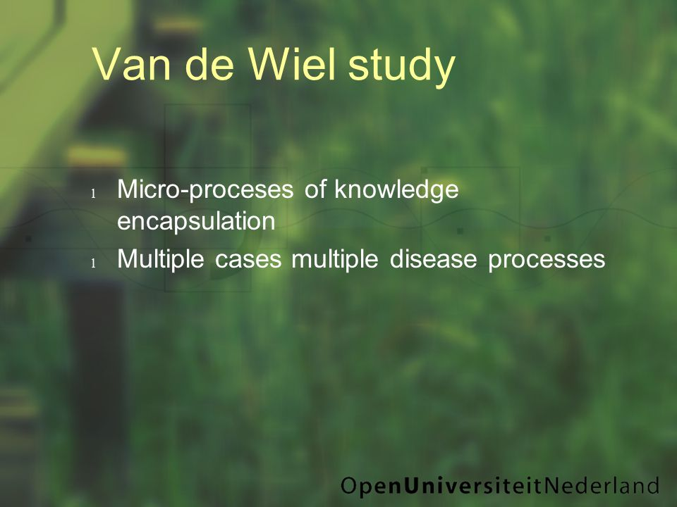 Van de Wiel study l Micro-proceses of knowledge encapsulation l Multiple cases multiple disease processes